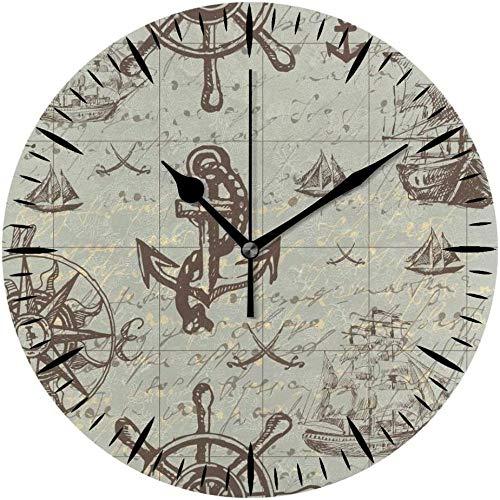 LTBWFDC Reloj De Pared Silencioso, Funciona con Pilas, Tema Náutico, Viaje, Aventura, Descubrimiento, Azul Vintage para Oficina Y Hogar