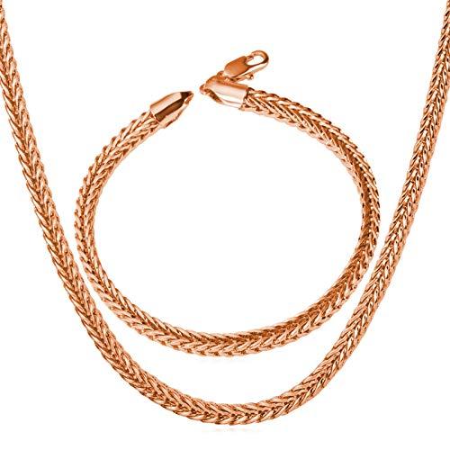 Aeici Conjunto de Joyas de Acero Inoxidable Cadena Collar para Hombre Pulsera Hombre Cadena Cadena de Trigo de 4 Mm de Ancho Oro Rosa Pulsera 8.3 Inchs,Collar Cadena 26Inch