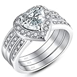 MABELLA Jewelry 2.8 CTW Halo Heart Shaped CZ Sterling Silver Wedding Band Engagement Ring Set For Women