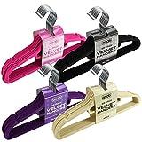 ASAB Non Slip Velvet Coat Hangers - Slim Flocked Wardrobe Coathanger for Clothes, Trouser, Scarf, Suit - Black - 10 Hangers