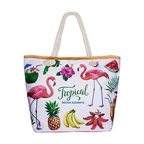 Comius Bandolera Verano Mujer 2019, PU Bolsa de Playa Grande con Cremallera, Bolso de Mujer Shopper Bolsa Totalizadores del Recorrido (55 x 39 x 11cm) (Tropical)