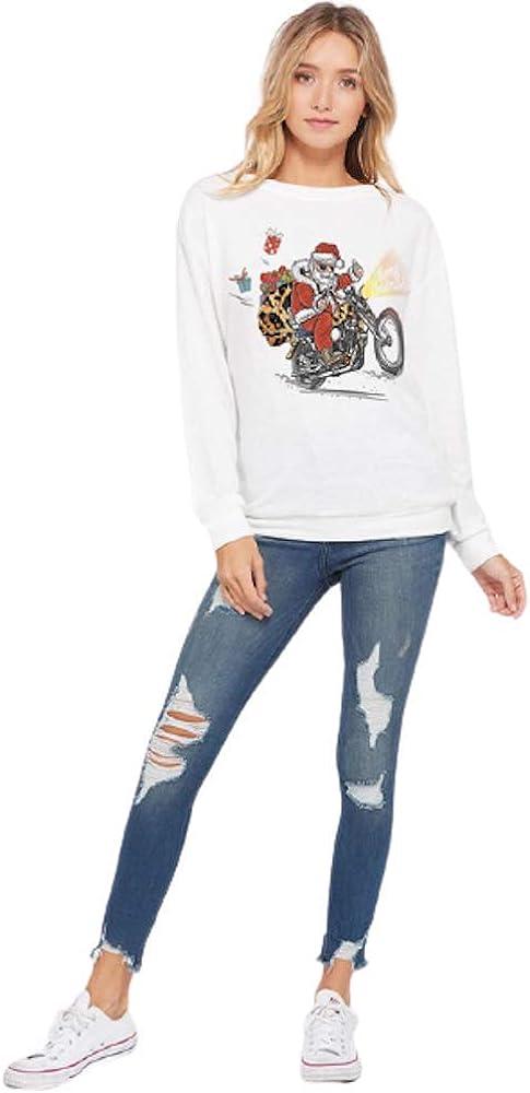 Women's Long Sleeve Holiday Christmas Themed Tunic Fashion Sweatshirt