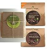 PARA REGALAR – Bamboo Story - Pepitas/Nibs/Puntas de Cacao Crudo Endulzadas con Yacón Bio 200g + Pasta de Cacao 100% en Óbleas Bio 200g - NUEVO