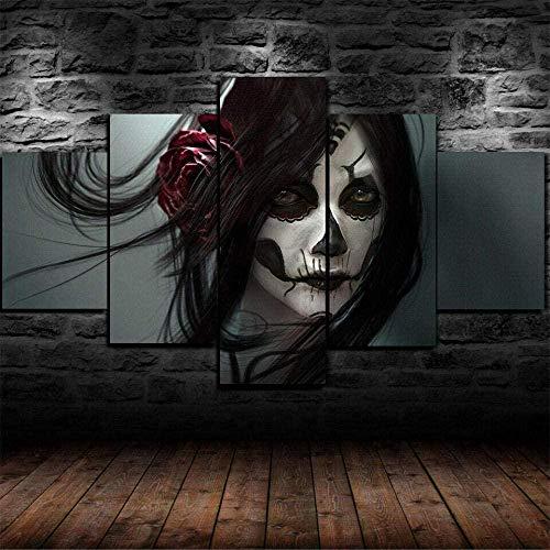 5 piezas cuadro en lienzo Cuadro compuesto por 5 lienzos impresos en HD, utilizados para decoración del hogar y carteles Skull Tattoo Day Dead Girl (150x80cm sin marco)