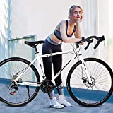 Adult Road Bike, Kptoaz 26 Inch Aluminum Hybrid Bicycle with Bend The Handle Full Suspension Bikes...