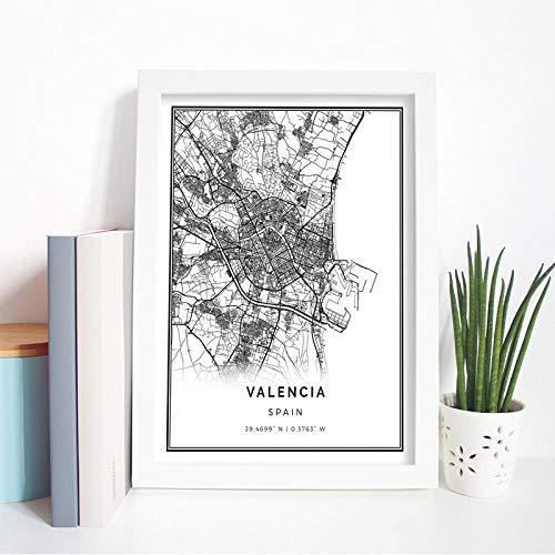kldfig Valencia kaart poster print muurkunst foto Spaanse geschenk stad straat reis kaart kunst schilderij Nordic moderne foto huis muur decoratie 50 * 70 cm niet ingelijst