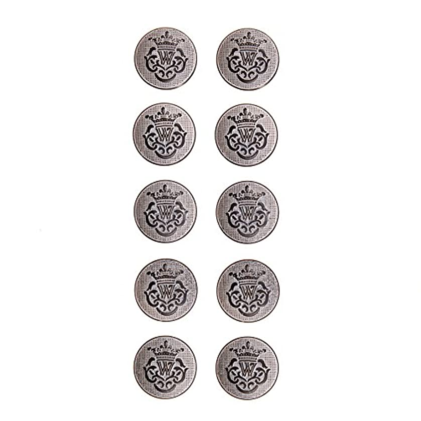 Imitation Horn Emblem Shank Button 24 Line Gray/White Etching