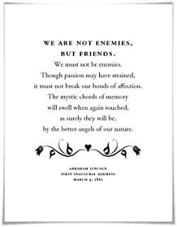 Abraham Lincoln Presidential Inaugural Speech Art Print. 3 Sizes. Better Angels of our Nature. American History Poster