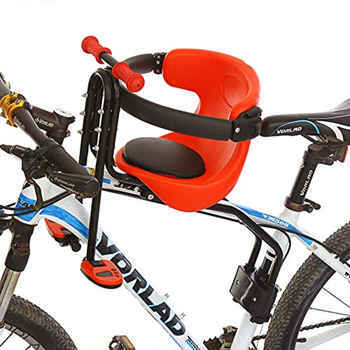 Fetcoi Asiento de bicicleta infantil de seguridad, asiento delantero de hasta 30 kg, con pedales y pasamanos antideslizantes para tija de sillín de 31,8 mm, bicicletas de montaña