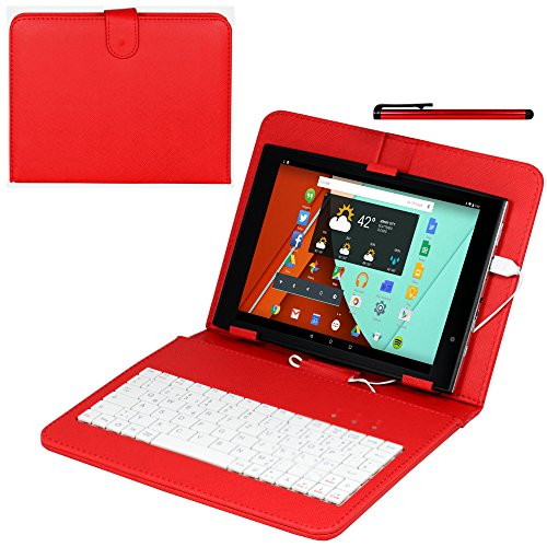 Navitech Odys Wintab 9 Plus 3G 22,6 cm (8,9 Zoll) Tablet-PC 8 Zoll Case/Cover mit deutschem QWERTZ Keyboard mit Micro USB & Stylus in Rot