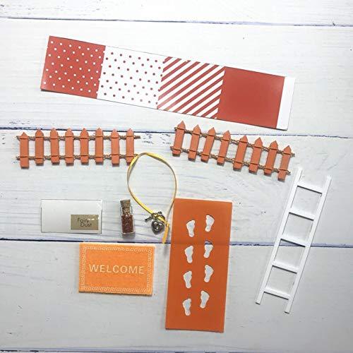 WEJUANR DIY Hand Made Fee Tür Großes Geschenk for Kind Miniatur Magische Zahnfee Fußmatte Leiter Zaun Mit Bunting Zubehörtasche (Color : Orange)