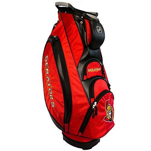 Team Golf NHL Ottawa Senators Victory Golf Cart Bag, 10-way Top with Integrated Dual Handle & External Putter Well, Cooler Pocket, Padded Strap, Umbrella Holder & Removable Rain Hood