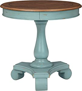 Signature Design by Ashley Mirimyn Farmhouse Round Accent Table, Teal & Brown