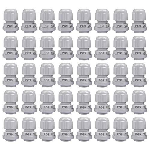 Gebildet 40 Stücke PG9 Kabelverschraubung, M16 x 1,5 wasserdichte Kabelverschraubungen mit Gegenmutter Kunststoff, Kabelsteckverbinder Verstellbare, Kabelverschraubungen Gelenke (Weiß)