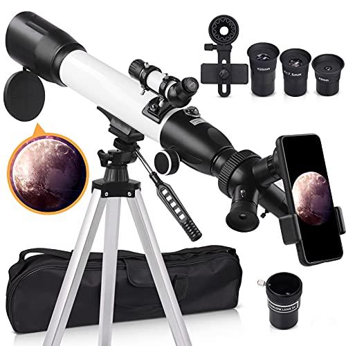[Mejorado] Telescopio de astronomía para niños adultos principiantes, 60 mm de apertura 500 mm de telescopio astronómico refractor de trípode para camping y astronomía