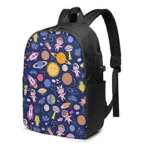 BYTKMFD Mochila de viaje con patrón planetario para ordenador portátil, para hombre y mujer, extra grande, antirrobo, mochila escolar con puerto de carga USB de 17 pulgadas, Planeta, Talla única
