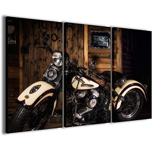 Stampe su Tela, Harley Davidson Iii Quadri Moderni in 3 pannelli già intelaiati, canvas, pronto per essere appeso, 100x70cm