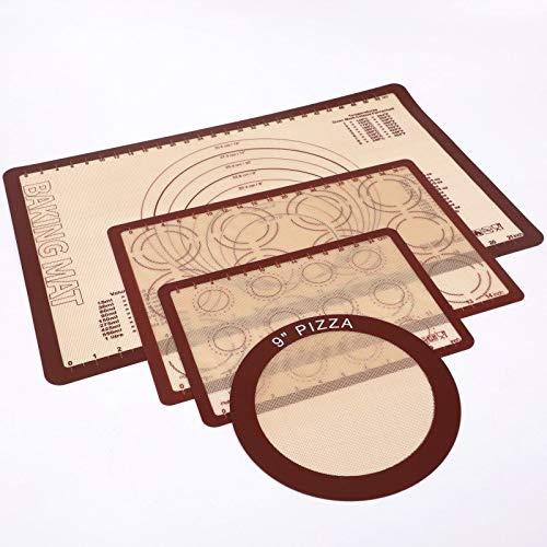Set di tappetini da forno in silicone non tossico, tappetino da cottura teglia da forno, set 60 x 40 cm, 42 x 29,5 cm, 30 x 21 cm, 22,8 cm, rotondo (colore caffè)