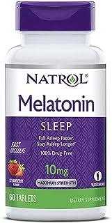 Natrol Melatonin Sleep Maximum Strength fast dissolve Strawberry flavor 10 mg 60 Tablets (Pack of 3)