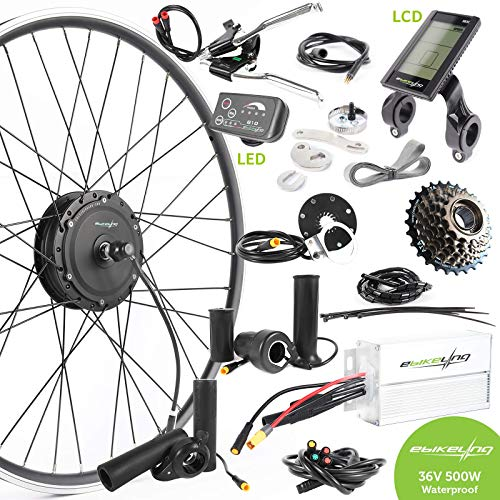 "EBIKELING 36V 500W 26"" Geared Front Waterproof Electric Bicycle Conversion Kit (Front/LED/Thumb)"