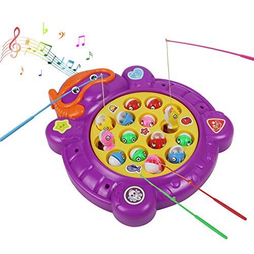 Juegos de Mesa Set de Pesca Juego de Mesa Niños Eléctricos Musical Educativo Juguete Juegos Jardin Exterior(Púrpura)
