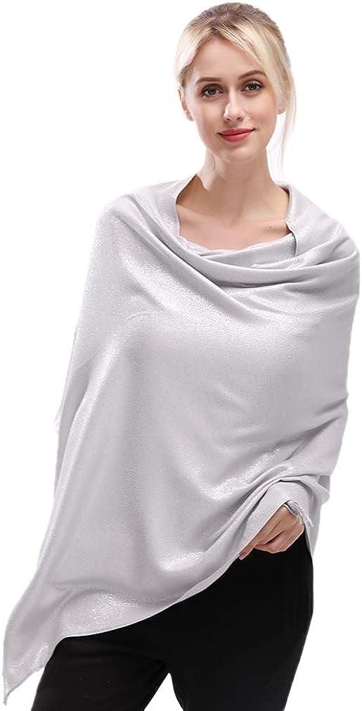 KAVINGKALY Weiche Pashmina-Schals und Wickel für Frauen Schimmernde, einfarbige Schals für Hochzeiten Silber