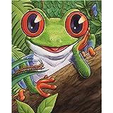 Qmber 5d Diamant Malerei Stickerei Strass Eingefügt Wanddekoration Gemälde Kreuzstich DIY Geschenk Manuell Gemälde Geformter Cartoon-Frosch,B