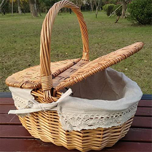 ENticerowts Picknickkorb, Weidengeflecht, Vintage-Stil, mit Griff, für Einkaufen, Lebensmitteln, Obst, Picknickkorb, Herren, einfarbig