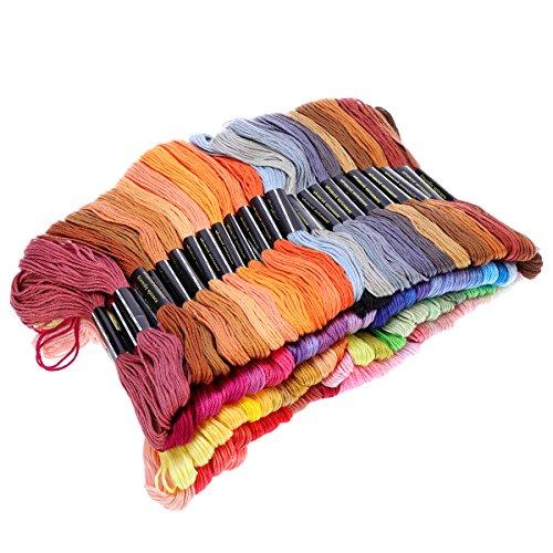VORCOOL - Hilo de punto de cruz de algodón suave, calidad prémium, 100 madejas, 8 m, colores del arco iris seleccionados al azar