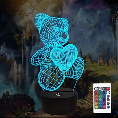 Bear LED Night Light 3D Illusion Optical Lamp, lámpara de luz nocturna para niños con cable USB y 16 colores cambiantes para la decoración del hogar niños niños niñas presentes