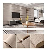 Modern 3D Thick Imitation Deerskin Wallpaper, Vertical Stripes Deerskin Velvet Wallpaper 3D Bedroom Living Room Background Wallpaper (1Roll) (Camel-1833#)