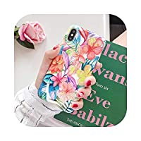Cvnsla ビンテージバナナリーブ&フラワーfor iPhone 11プロマックスXR XSマックス6 6S 7 8プラスXソフトIMD電話バックカバーケース-g-For 7 Plus or 8 Plus