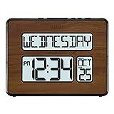 La Crosse Technology 513-1419BL-WA-INT Atomic Large Full Digital Calendar Clock, Pack of 1, Brown