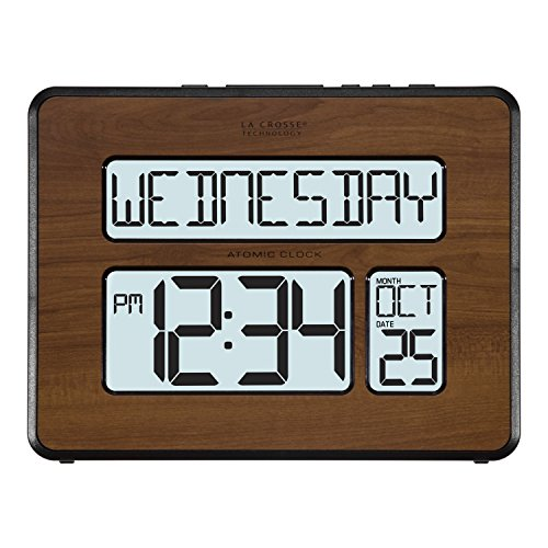 La Crosse Technology 513-1419BL-WA-INT Atomic Large Full Digital Calendar Clock, Pack of 1, Brown