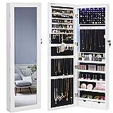 SONGMICS 6 LEDs Mirror Jewelry Cabinet, 47.3'H Lockable Wall/Door...