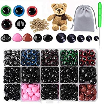 Plastic Safety Eyes and Noses 560PCS Crochet Eyes with Washers Teddy Bear Eyes for Amigurumi Stuffed Animals Craft for Doll Making