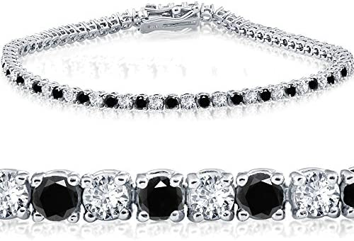 3ct Black White Diamond Tennis Bracelet 7 14K White Gold K L I2 I3 product image
