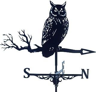 QADN Weather Vane, Stainless Steel Outdoor owl Weathervane, Retro Farm Scene Garden Stake Weather Vane Professional Measur...