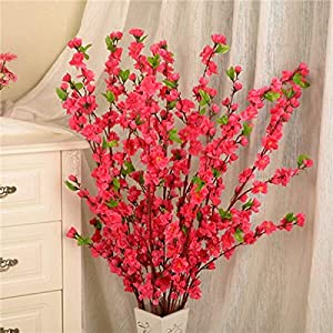 Artificial and Dried Flower 50inch Long Artificial Cherry Spring Plum Peach Blossom Branch Silk Flower Tree Decor