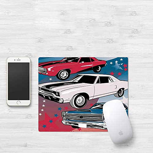 Comfortable Mouse Pad 320x250 mm,Cars, Pop Art Stylized Group of Nostalgic American Musc,Gaming Matte superficie lisa para ratón de goma antideslizantes con Designs para gamer y Office trabajo