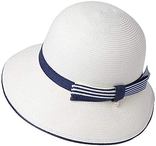 Generic Damen Sonnenhut UPF 50 Sommer Stroh Strand Sonnenhut breiter Krempe Mode Cloche Hüte faltbar einstellbar