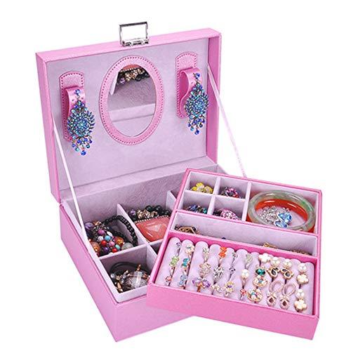 Boîte à Bijoux Sac Cosmétique Multi-Fonction Boîte de Rangement Portable en Cuir Double Couche pour Dames, boîte de Rangement 23 * 18.5 * 9cm, Rose