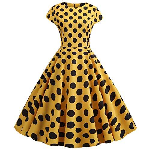 YWSZJ Frauen Sommer Vintage Kleid Robe Kurzer Druck Oansatz Big Swing Elegante Party Sommerkleid (Color : A, Size : M Code)