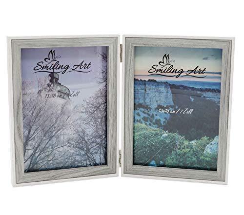 Smiling Art - Marco de fotos para 2 fotos de madera DM con cristal, plegable, doble marco (blanco + gris, 2 x 13 x 18 cm)