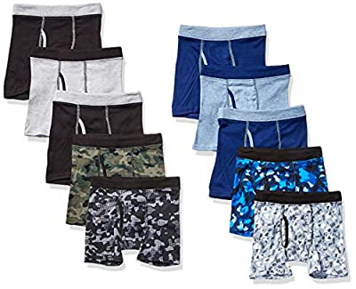 Hanes Boys' ComfortSoft Waistband Boxer Briefs 10-Pack, Assorted Prints & Solids, Small from Hanes
