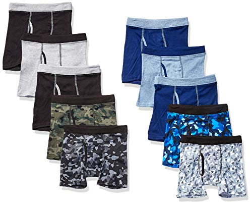 Hanes Boys' ComfortSoft Waistband Boxer Briefs 10-Pack, Assorted Prints & Solids, X Large