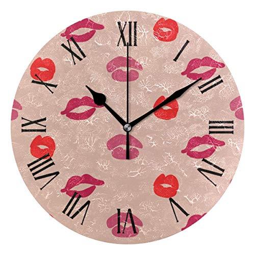 Reloj de pared Rojo Rosy Mujeres Labios Imprimir Reloj de acrílico redondo Negro Números grandes Reloj silencioso sin tictac Pintura decorativa Reloj con pilas para la biblioteca del hotel de la escue