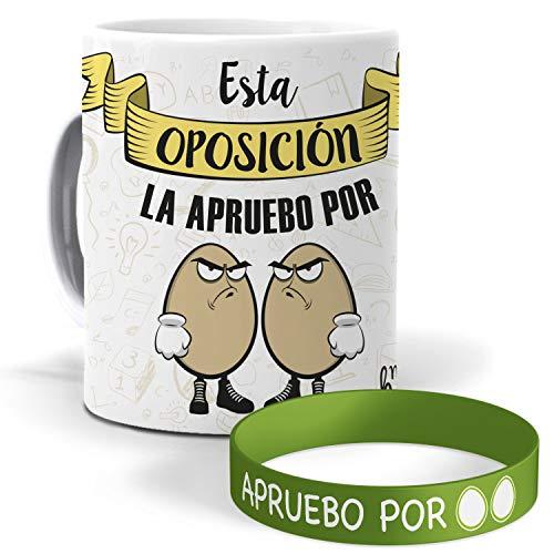 mundohuevo Taza y Pulsera Esta oposición la apruebo por Huevos