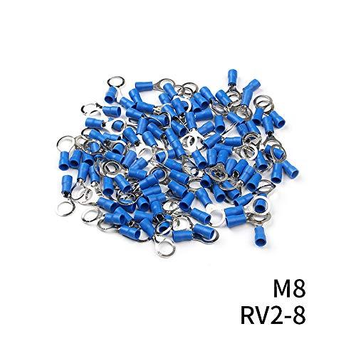 Without brand CCH-DLJIETOU, 100pcs / Set RV2 isolé Bornes Bleu Anneau de Fil Câble électrique Connecteurs à sertir 16-14 AWG Kit M3 / M4 / M5 / M6 / M8 (Size : RV2 8)