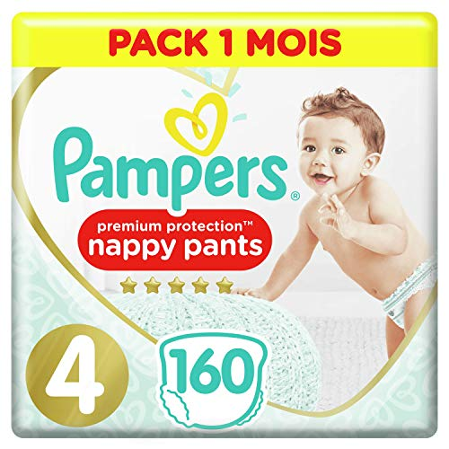 Couches Culottes Pampers Taille 4 (9-15 kg) - Premium Protection Nappy Pants, 160 culottes, Pack 1 Mois